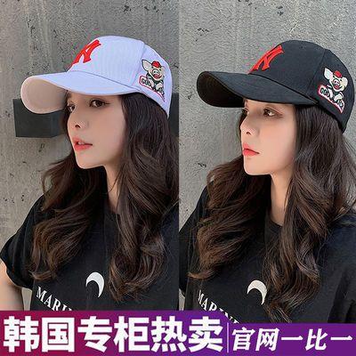 MLB 棒球帽男女韩版潮鸭舌帽夏季防晒遮阳帽刺绣弯檐学生帽NY帽子