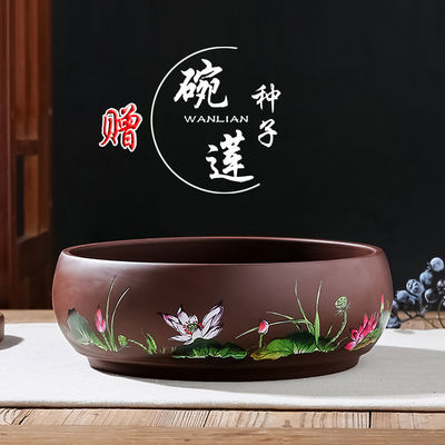 花盆陶瓷 碗莲多肉花盆 水培盆景 大号圆形 新中式古典紫砂花盆