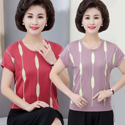 中老年女装夏装短袖宽松T恤40-50岁时尚妈妈装大码中年女短款上衣