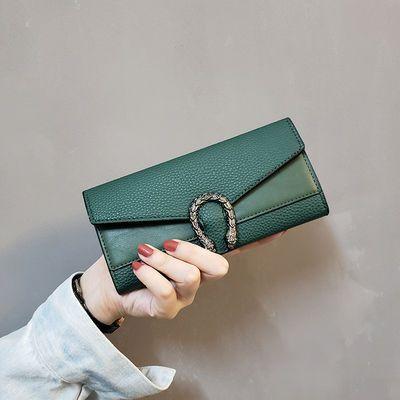 ins新款欧美纯色时尚钱包女长款复古钱夹手拿包女士卡包零钱包潮