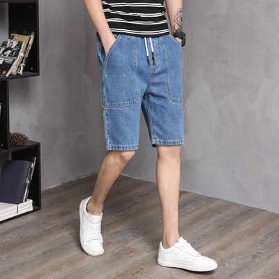 春夏新品男士浅蓝色多袋款牛仔中裤男式宽松五分裤潮流短裤
