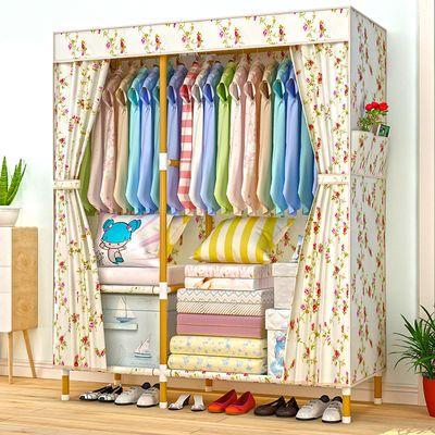 简易衣柜实木加粗加固牛津布衣柜收纳架组装非钢管挂衣架双人衣橱