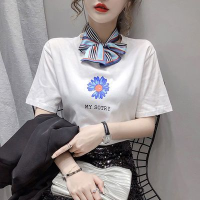 实拍2020夏季新款韩版ins潮宽松短袖白色T恤女小雏菊上衣送丝巾女