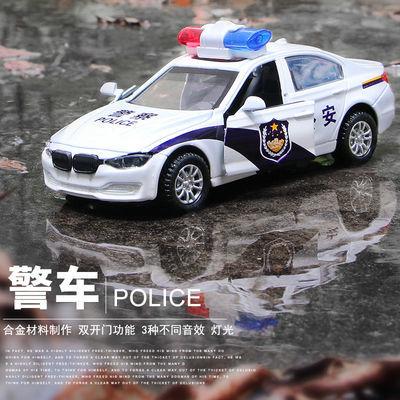 合金回力警车轿车模型仿真儿童耐摔金属玩具车男孩皮卡迷你小汽车