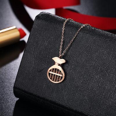 转运招财如意钱袋算盘项链女锁骨链短款潮时尚个性网红钛钢配