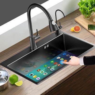 新黑色纳米洗菜盆双槽水槽304不锈钢单槽洗碗池厨房家用台下套装