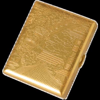 酷宝 上河图铜烟盒 20支装便携超薄创意防压男复古香烟盒随身高档