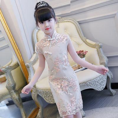 童装女童连衣裙儿童公主裙2020新款夏装旗袍蕾丝裙洋气女女童旗袍