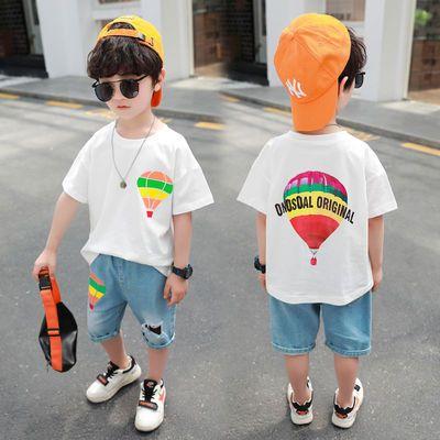 夏季新款男童短袖T恤儿童宝宝纯棉上衣+牛仔裤舒适中小童宽松套装