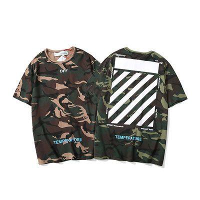 2020欧美潮牌嘻哈OFF WHITE箭头绿迷彩圆领短袖男女T恤情侣上衣潮