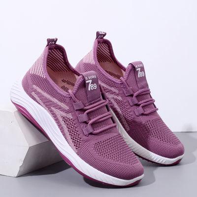 老北京布鞋女飞织百搭透气舒适妈妈鞋防滑轻便单网鞋中老年运动鞋