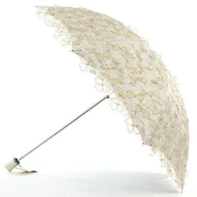 新款二折太阳伞双层黑胶折叠手工蕾丝刺绣遮阳公主伞防晒防紫外线