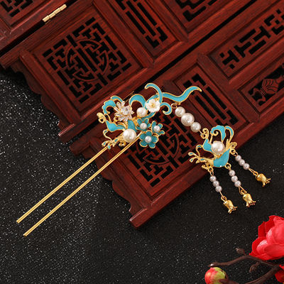 中式新娘头饰秀禾服古风发饰步摇流苏凤冠发簪蓝色汉服古装配饰品