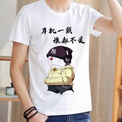 春夏男装短袖个性创意体恤圆领宽松印花韩版中小学生T恤潮流上衣