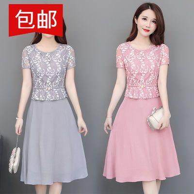 中年女装夏装连衣裙高贵气质妈妈装短袖洋气衣服阔太太裙子40岁50