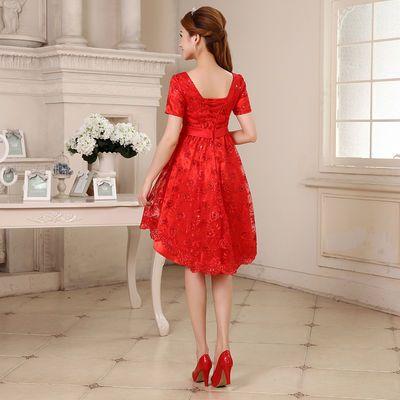 新娘敬酒服2019新款孕妇结婚婚纱红色短款晚礼服高腰显瘦女L050