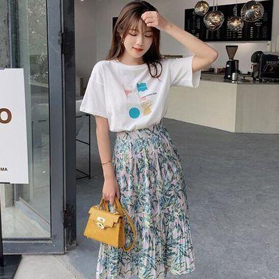 夏款新品两件套装女装实拍韩版印花钉珠短袖T恤加印花百褶半身裙