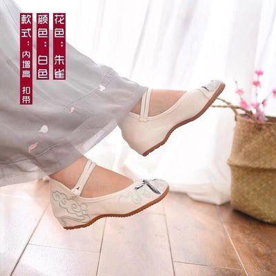 绣花鞋古风鞋子女古装搭配内增高牛筋底绣花布鞋复古民族风汉服鞋