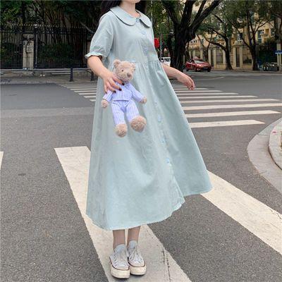 夏季新款连衣裙女韩版宽松学院风甜美日系小清新高腰a字裙长裙子