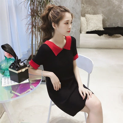 75009/2021夏季新款韩版撞色短袖连衣裙女宽松翻领休闲中长款T恤裙修身