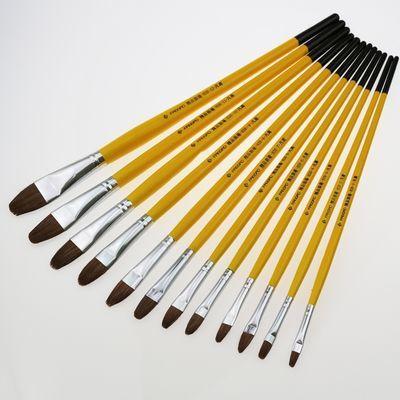 包邮凡高826高级精品狼毫水粉笔水彩笔油画笔排笔长杆圆头6支装