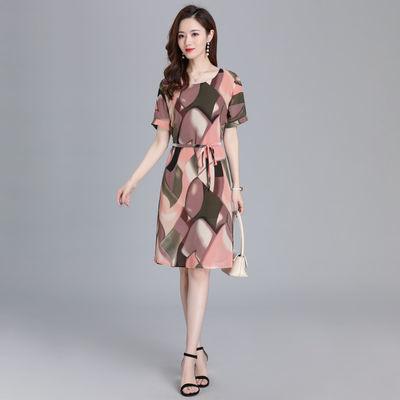 2020新款中年裙子妈妈夏装气质洋气40岁50阔太太高贵连衣裙OL通勤