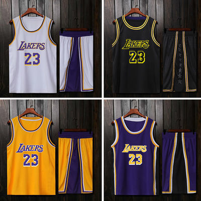 韩版新款詹姆斯湖人23号球衣篮球服套装男定制科比24号队服定制印
