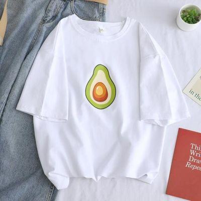 短袖t恤女装2020新款潮ins韩版宽松大码百搭情侣夏装半袖绿色上衣