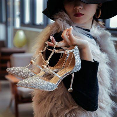 婚鞋水晶鞋女公主尖头一字扣高跟鞋细跟性感新款包头凉鞋仙女单鞋