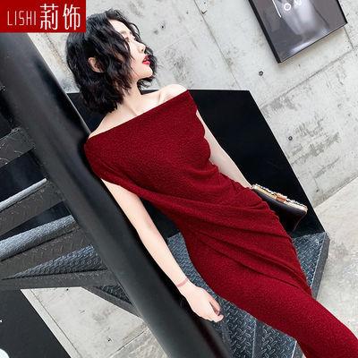 2020新款一字肩不规则连衣裙女夏季时尚洋气质性感遮肚显瘦长裙子