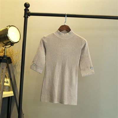 2019春秋新款半高领半袖套头中袖打底衫薄针织衫五分袖上衣毛衣女