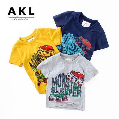 男童上衣儿童短袖夏季新款 中小童纯棉圆领卡通透气吸汗宝宝T恤潮