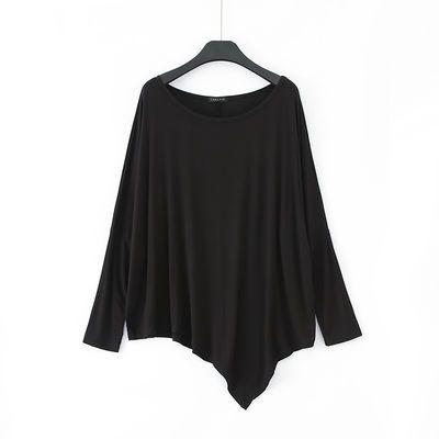 长袖t恤女莫代尔大码圆领宽松中长款打底衫春秋不规则蝙蝠袖上衣