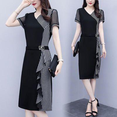 复古优雅淑女收腰气质连衣裙女神范适合胖人的裙子2020新款肥胖女
