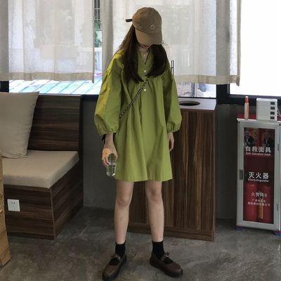 学院风少女气质纯色连衣裙夏季灯笼袖学生韩版宽松显瘦超火中长群