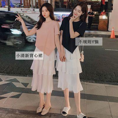 雪纺高档连衣裙女2020夏季新款不规则T恤上衣女闺蜜装小个子套装