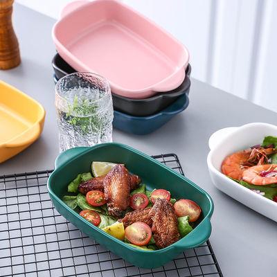 烤盘陶瓷北欧风家用微波炉烤箱专用烘焙盘子长方形网红西餐�h饭盘