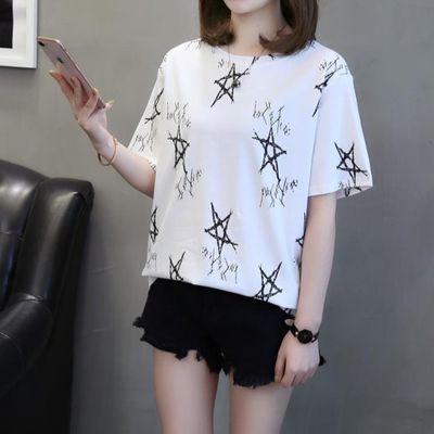 ins半袖女装短袖t恤女韩版2020新款潮白色上衣夏季宽松体恤打底衫