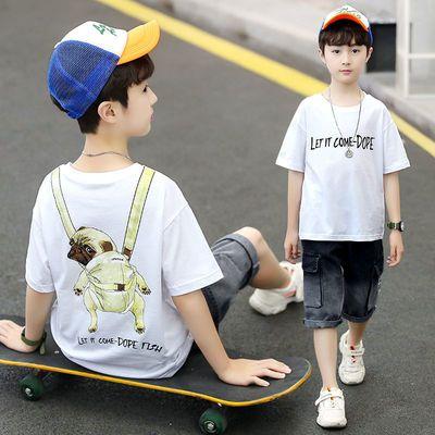 2020童装新品男童中大童夏装男孩儿童衣服短袖短裤T恤套装潮款帅1