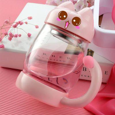 大容量玻璃泡茶杯猫咪水杯可爱软妹花茶杯过滤卡通杯子双层花茶杯