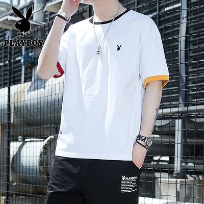 专柜正品 花花公子韩版修身 青少年学生款夏季短袖T恤男上衣男装