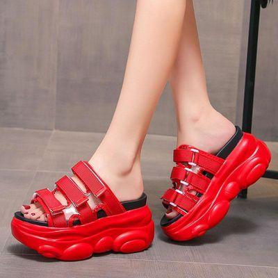拖鞋女夏天外穿ins潮网红20aj新款坡跟厚底懒人半拖内增高凉拖鞋
