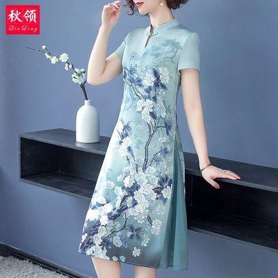 妈妈夏装连衣裙新款中年旗袍中老年女装春秋洋气高贵短袖过膝裙子
