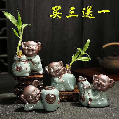 陶瓷哥窑小和尚茶宠摆件可爱瓶紫砂陶艺小猪花器多肉精品茶具配件