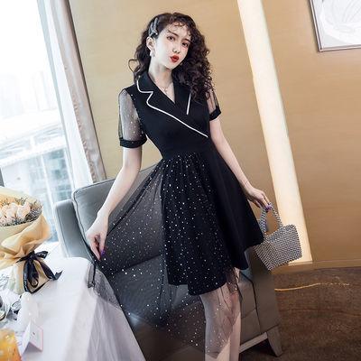 2020小黑裙桔梗收腰不规则网纱设计感百褶西装领连衣裙女夏季