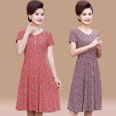 中老年女装夏装短袖连衣裙妈妈装夏季新款宽松洋气中长款印花裙子