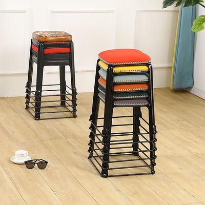 家用餐桌凳经济铁艺简约现代北欧轻奢钢筋加厚可摞叠放仿古凳椅子