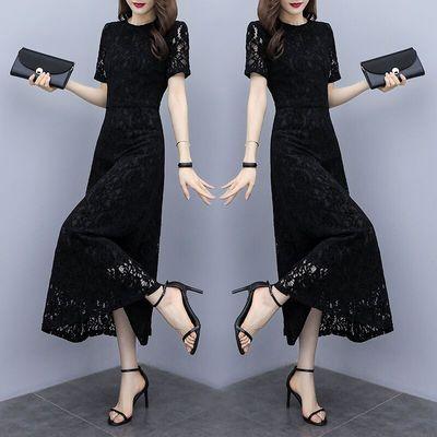 蕾丝连衣裙女2020夏季新款气质修身显瘦遮肚子长裙阔太太高贵裙子