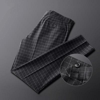 DMKM西裤男士修身小脚商务正装2020春款韩版格子男装呢子休闲裤