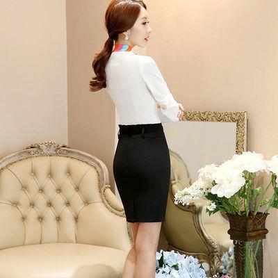 职业衬衫女长袖小白领新款收银员酒店前台衬衣时尚气质工作服女装